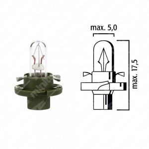 Dashboard lamp BX8,4d 12V 1,3W with olive green base - Pack of 5 pcs