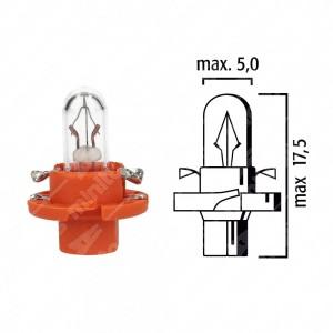 Dashboard lamp BX8,4d 12V 1,1W with orange base - Pack of 5 pcs