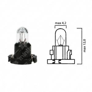 Schema lampadina per cruscotto T-1/4NW 12V base nera
