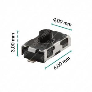 0 Pulsante 6x4x3mm - Conf. da 10 pz (normalmente chiuso)