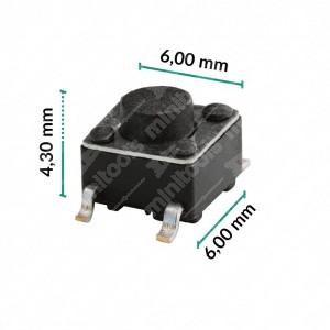 0 Pulsante 6x6x4,3mm - Conf. da 10 pz (normalmente aperto)