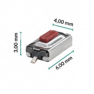 0 Pulsante 6x4x3mm Vers. n?2 - Conf. da 10 pz (normalmente aperto)