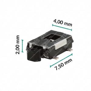 0 Pulsante 7,5x4x2mm ad azionamento laterale- Conf. da 10 pz (norm.aperto)