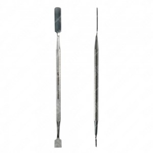 Spudger with long, flat, rounded tip and with scraper tip